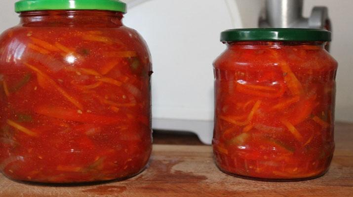 Лечо по-сибирски с перцем, морковью и помидорами