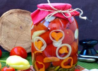 Помидоры консервированные с морковью и луком